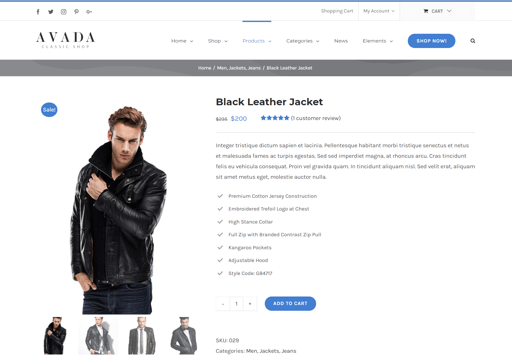 Avada WooCommerce eshop