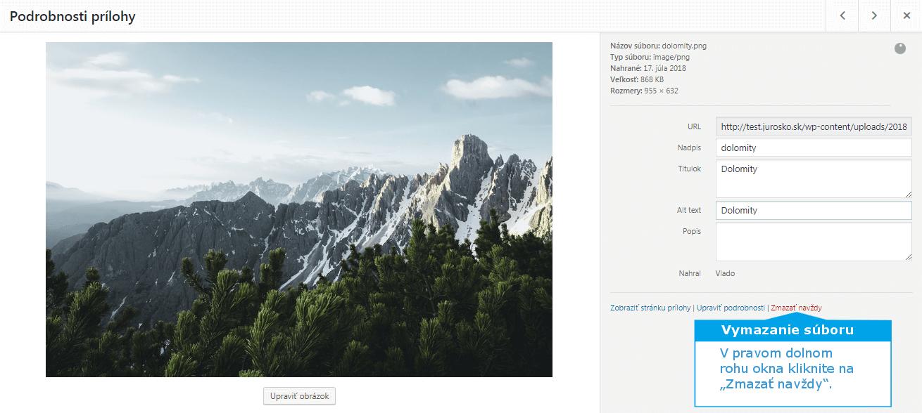 WordPress vymazanie multimediálneho súboru