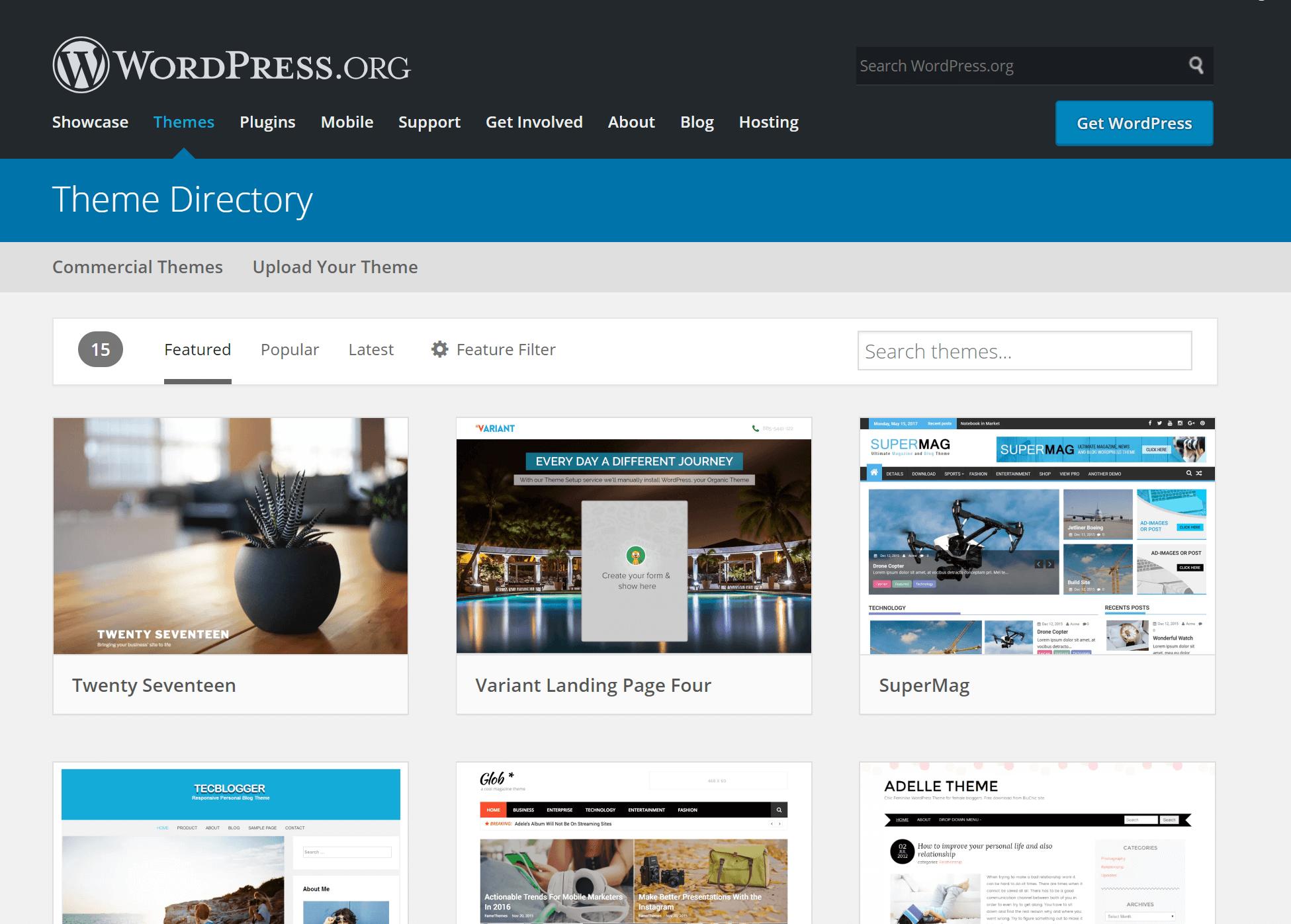 WordPress.org úložisko šablón