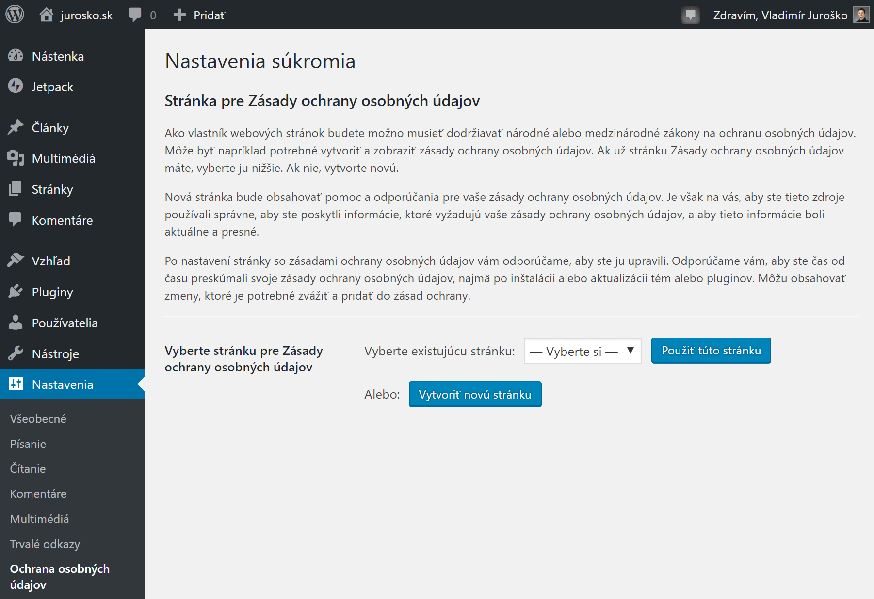WordPress nastavenia súkromia