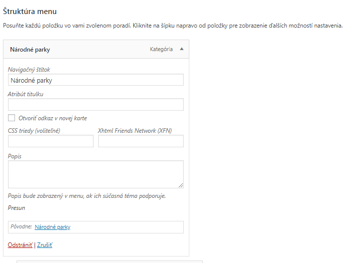 WordPress úprava možností menu